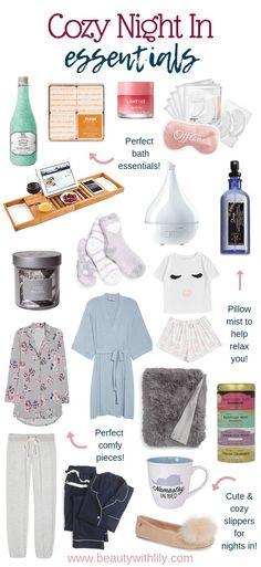 Cozy Night In Essentials Cozy Night In Essentials // Gift Ideas for Homebodies // Homebody Gift Ideas // Cozy Night In Must Haves & Beauty With Lily Night Routine, Beauty Routines, Skincare Routine, Spa Day, Healthy Skin, Beauty Hacks, Beauty Tips, Beauty Essentials, Beauty Products