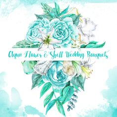 Aqua Flower & Shell Wedding Bouquets digital от WatercolorMarket