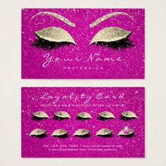 #Beauty Loyalty Card 10 Lash Hot Pink Gold Crown - customized designs custom gift ideas