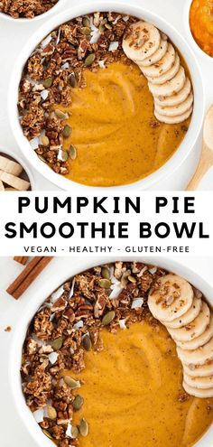 This pumpkin pie smoothie bowl is a healthy and delicious fall breakfast recipe! It's a vegan and dairy-free smoothie made with pumpkin, dates, almond butter, banana, and oat milk. Enjoy this tasty twist on the classic fall dessert! #pumpkin #pumpkinpie #smoothiebowl #pumpkinsmoothie #smoothie #pumpkinspice #vegan #glutenfree #smoothiebowlrecipes #veganbreakfast #healthybreakfast Vegan Breakfast Recipes, Vegan Dinner Recipes, Delicious Vegan Recipes, Fall Recipes, Whole Food Recipes, Breakfast Meals, Vegan Desserts, Tasty, Fall Breakfast
