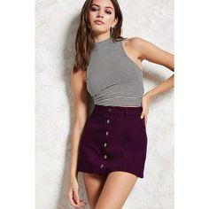Forever21 Button-Front Denim Mini Skirt ($16) ❤ liked on Polyvore featuring skirts, mini skirts, burgundy, denim mini skirt, mini skirt, purple mini skirt, denim skirt and denim miniskirt
