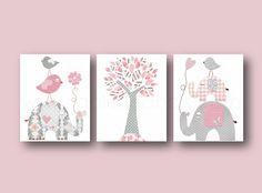 Lot de 3 illustrations pour chambre d'enfant et bebe, rose et gris affiche : Autres par galerie-anais