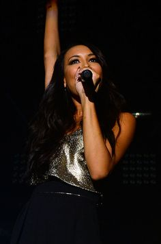 Naya Rivera hosting Bud Light Music First 50/50/1 Show in LA featuring Miguel