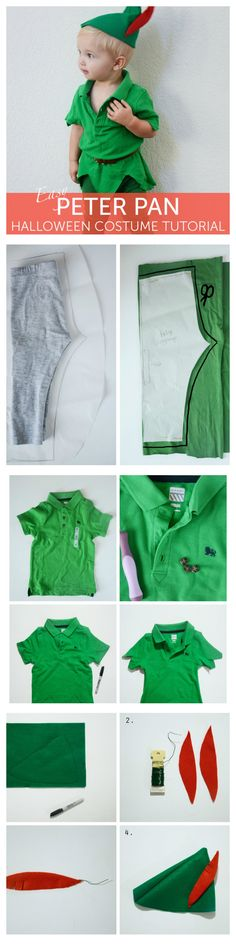 Creative DIY Halloween Costumes for Kids with Lots of Tutorials DIY Peter Pan Halloween Costume For Kids.DIY Peter Pan Halloween Costume For Kids. Peter Pan Halloween Costumes, Fete Halloween, Baby Halloween Costumes, Halloween Kids, Halloween 2017, Halloween Juice, Family Costumes, Boy Costumes, Disney Costumes