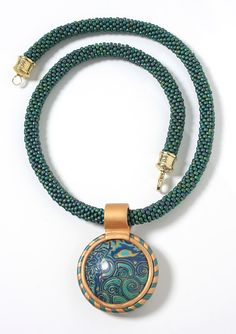 Green Polymer Pendant and Bead Rope Necklace