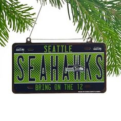 Seattle Seahawks Metal License Plate Ornament