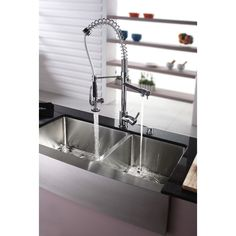 Kraus KHF203-36-KPF1602-KSD30CH Universal Stainless Steel/Polished Chrome Faucet & Sink Kitchen Combos  | eFaucets.com