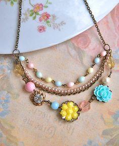 Charlotte.pastel vintage beaded layered necklace. Tiedupmemories
