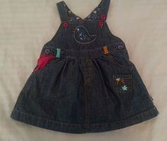 Mothercare Baby Girl Denim Dress 3-6M Bib Jumper Embroidered Owl Magic Forest #mothercare #Everyday