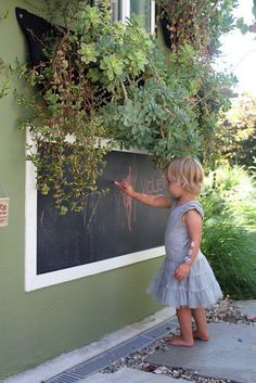 DIY   An Outdoor Chalkboard On The Side Of The House! Way Better Than Chalk  Dust Inside The House! Piece Of Board Painted With Chalkboard Paint, ...