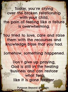 WOW.... I so needed this right now!! I'm praying for healing, restoration & reconciliation & I will never give up!!!!!!!!