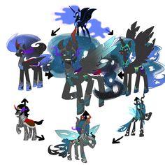 nightmare moon, queen chrysalis, king sombra  fusion