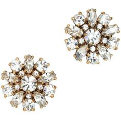 J.Crew Jeweled button earrings ($25) ❤ liked on Polyvore featuring jewelry, earrings, accessories, j crew jewelry, button jewelry, j crew earrings, polish jewelry and crystal stud earrings