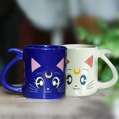 Cute cartoon cat coffee water milk mug Anime Sailor Moon Crystal Anniversary Cat Mug Cups Valentine's Gifts for collection Sailor Moon Crystal, Cristal Sailor Moon, Sailor Moon Luna, Luna And Artemis, Couple Mugs, Cute Cups, Kawaii Cat, Cat Mug, Mug Cup