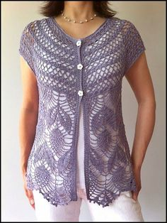 Ravelry: Jamie - short sleeve crochet vest pattern by Vicky Chan~~~~Beautiful! Crochet Bolero, Gilet Crochet, Crochet Vest Pattern, Crochet Jacket, Crochet Cardigan, Knitting Patterns, Knit Crochet, Crochet Patterns, Stitch Patterns