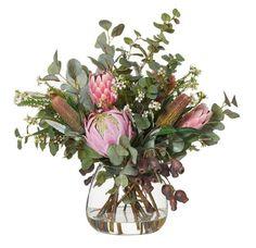 Shop Native Mix in Garden Vase Pink at Interiors Online. Artificial Floral Arrangements, Flower Arrangements Simple, Flower Vases, Artificial Flowers, Flowers In A Vase, Faux Flowers, Pretty Flowers, Silk Flowers, Bridal Flowers