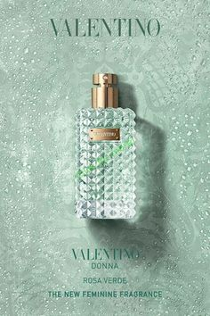 Valentino Parfums introduces a fresh and elegant new fragrance for women: Valentino Donna Rosa Verde. A scent radiating with freshness, captured in a luminous and unexpected collision of ingredients, Valentino Donna Rosa Verde r Book Perfume, Perfume Ad, Perfume Bottles, Chanel Chance, Black Opium, Best Fragrances, Fragrance Parfum, Beauty Products, Makeup Collection