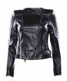 Black Long Sleeves PU Leather Jacket