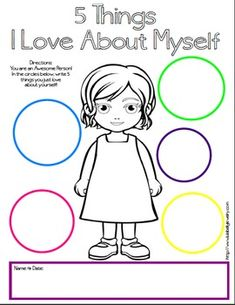 5 Things I Love About Myself Free Printables – Boy & Girl Version – Self Esteem – Crystal Watson – art therapy activities Self Esteem Worksheets, Self Esteem Activities, Emotions Activities, About Me Activities, Therapy Worksheets, Counseling Activities, Art Therapy Activities, Worksheets For Kids, Toddler Activities