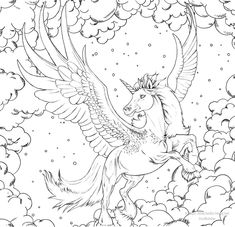 Blank Coloring Pages, Mermaid Coloring Pages, Horse Coloring Pages, Adult Coloring Book Pages, Coloring Pages For Girls, Coloring Books, Unicorns And Mermaids, Unicorn Art, Art Template