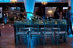 A branch makes the perfect enchanting centerpiece! Add the blue lighting and you have the perfect fairytale reception!