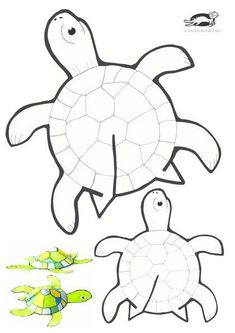 Tips and templates: Glue-free printable turtle - Basteln - Printable paper turtle crafts - Diy Crafts For Kids, Preschool Activities, Arts And Crafts, Creative Crafts, Turtle Crafts, Animal Crafts, Paper Toys, Summer Crafts, Elementary Art