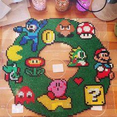Nintendo Christmas wreath perler beads by tigergirlsss_