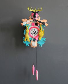 Large Neon Pink & Gold Cuckoo Clock. Working Condition