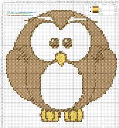 Dibujos Punto de Cruz Gratis: Buho Owl - Cross Stich Punto de cruz