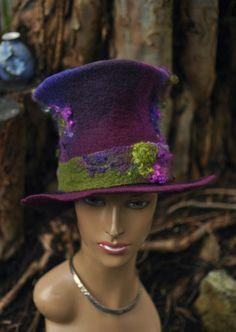 Felted Top Hat - 'Magician'  Handmade felt topper - hand dyed fibre wool curls - purple plum green brown - Custom ARtWeAR MADE to ORDER