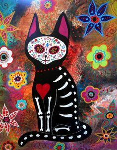 day-of-the-dead-cat-el-gato-pristine-cartera-turkus.jpg (700×900)