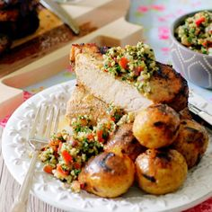 Greek marinated pork plus perfectly grilled potatoes topped with the most delicious and fresh Tabbouleh