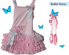 Children's Ballet Dress w/ handmade Rosettes Girls Party Ballet Dress Heirloom Girls
