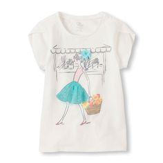 Girls Short Petal Sleeve Graphic Top