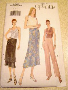 Vogue 9806 Skirt and Pants Pattern Misses' Size 8 by SnuggeryStuff