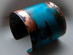 Turquoise Jewelry Necklace copper and electric blue by joni Copper Cuff, Copper Bracelet, Copper Jewelry, Jewelry Art, Bangle Bracelets, Jewelry Accessories, Jewelry Design, Bangles, Jewlery