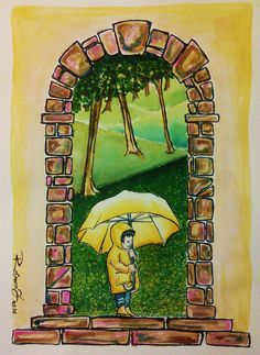Kid with umbrella in a peacefull raining day. Watercolour on Gvarro. 11 in X 15 in. Rivera Fernández 2016