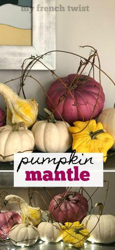 easy pumpkin mantle - My French Twist Easy Diy Crafts, Diy Home Crafts, Diy Craft Projects, Crafts To Sell, Braided Hairstyles For Wedding, Wedding Updo, Braided Updo, Prom Hairstyles, Thanksgiving Crafts