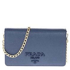 dcac84804aa8 SALE PRICE -  1199.99 - Prada Women s Saffiano Leather Wallet Bag Blue  Saffiano leather Made in