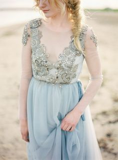 Coastal Wedding in an Embellished Gown by 2 Brides Photography | Wedding Sparrow