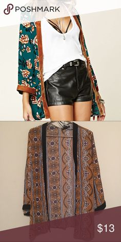 [NWT] Velvet Trimmed Cardigan/Kimono brand new. no pockets. Forever 21 Tops
