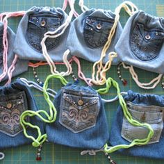 Jeans? Upcycle that Denim! Several fun ideas about repurposing jeans.