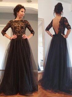 Elegant A-Linie Bateau-Ausschnitt Bodenlangen Schwarzen Abendkleid Ballkleid mit Spitze