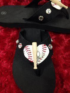 Baseball flip flops by redbranchcreations on Etsy