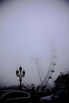 The London Eye. Hope it's not foggy like this when we go on the London Eye. Would kinda defeat the purpose. Jardin Des Tuileries, London Eye, London Rain, Photos, Pictures, Photographs, Oh The Places You'll Go, Belle Photo, White Photography