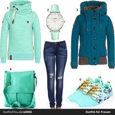 Schicker Damen-Look in Grün und Türkis mit Hoodie und Jacke von Naketano. Sportliche Sneaker und coole Jeans mit Löchern. #naketano #style #outfit #fashion #cluse