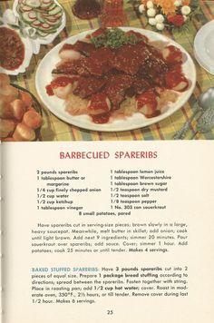 Vintage Recipes: Meat Recipes Part 2 Retro Recipes, Vintage Recipes, 1950s Recipes, Rib Recipes, Dinner Recipes, Cookbook Recipes, Cooking Recipes, 1950s Food, Royal Recipe