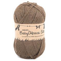 Drops Baby Alpaca Silk $4.07 Brand: Drops Yarn Weight: 4 Ply Blend: 70% Alpaca 30% Silk Needles: 3.50mm Ball Weight: 50g Yarn Length: 167m (182 yds)