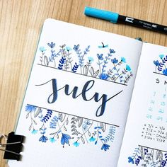 Here it is, my July cover page! Originally, I wanted to do blueberries since July is national blueberry month but I went with a general… Bullet Journal Month, Bullet Journal Banner, Bullet Journal Writing, Bullet Journal School, Bullet Journal Aesthetic, Bullet Journal Ideas Pages, Bullet Journal Inspiration, Bullet Journal Spread, Bullet Journal Hand Lettering