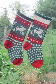 Knitted Christmas Stocking Patterns | Knitted Moose ... by anniwoolens | Knitting Pattern